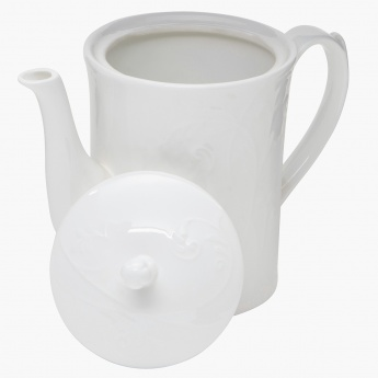White Embossed Tea Pot