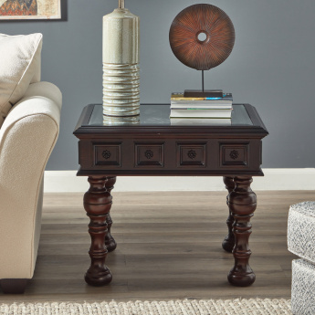 Northbrook Carved End Table with Glass Top