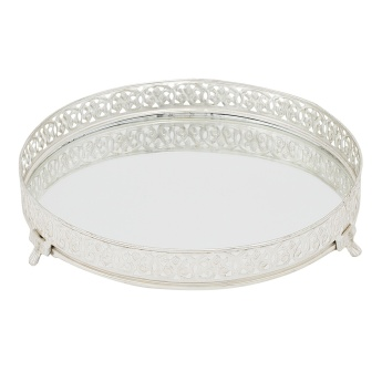Round Glass Mirror Serving Tray 25x25x3 cms