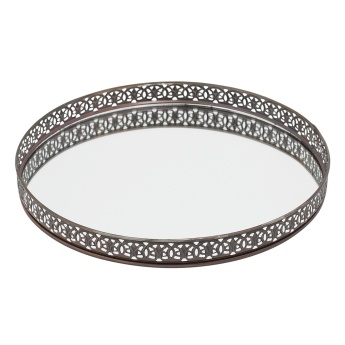 Round Glass Mirror Serving Tray 28x28x3 cms