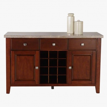 Oxville 3-Drawer Buffet with 2-Doors and Marble Top