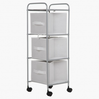 Rolling Storage Shelf with 3 Drawers