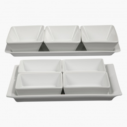 Vintage 9-piece Rectangular Plate Set