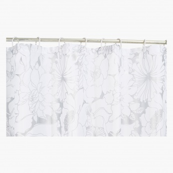 Sophia Shower Curtain with Hooks - 240x180 cms