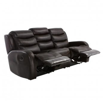 Chaplin 3 Seater Recliner Sofa Dark Teak Genuine Leather