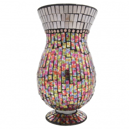 Daisy Mosaic Footed Vase