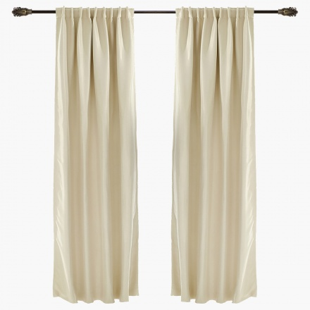 Chelmsford Herringbone Blackout Curtain Pair - 140x300 cms