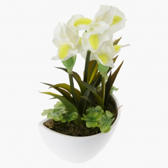 Iris Artificial Plant with Pot - 33 cms