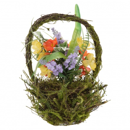 Mixed Flower on Rattan Basket 31 cms