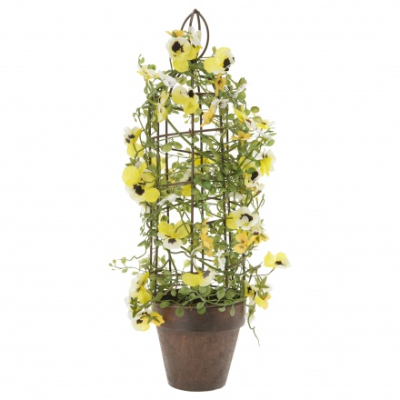 Mini Pansy with Bird cage on Pot 47 cms