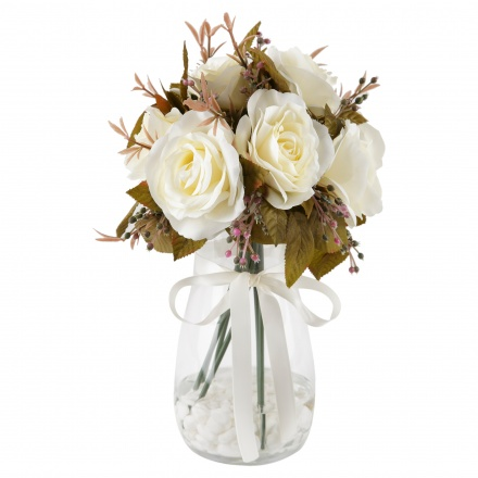 Rose in Glass Pot 39 cms