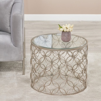 Florida End Table with Glass Top