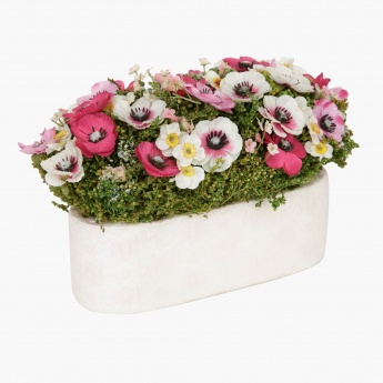 Constancy Anemone Artificial Plant Arrangement in Oval Base -30 cms