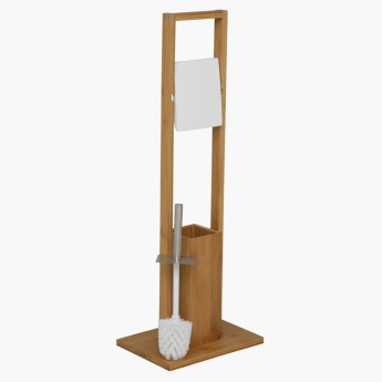 Bamboo Toilet Roll Stand and Brush