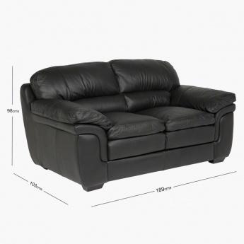 Taylor 2-Seater Leather Sofa with Splayed Arms