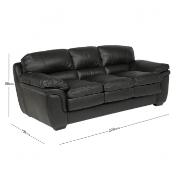 Taylor 3-Seater Leather Sofa with Splayed Arms