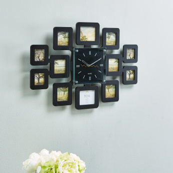 Carlo Wall Clock With Collage Photo Frame Black Mdf