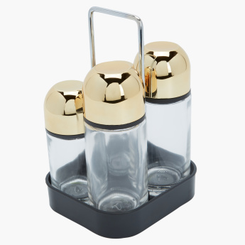 Tapei 4-Piece Salad Dressing Set with Rack
