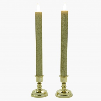 LED Sparkle Taper Candle - Set of 2