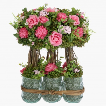 Pompom Artificial Flowers with Vase - 33 cms