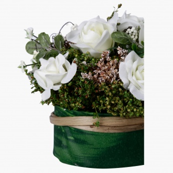Bella Mixed Rose in Italian Textile Planter - 28x21x17 cms