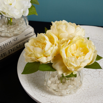 Peony Artificial Flowers with Vase - 28 cms