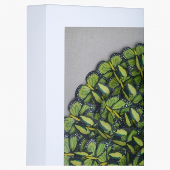 Green Butterflies Decorative Shadow Box - 80x11x80 cms