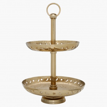 Suhoor Moon Star Cutwork 2-Tier Stand - 18x18x18 cms