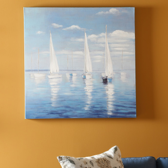 Three Yachts Handmade Oil Painting - 100x3.5x100 cms