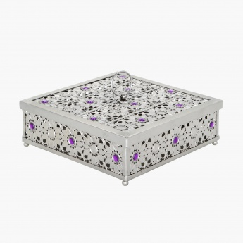 Baqi Metallic Box with Gem - 25x8 cms