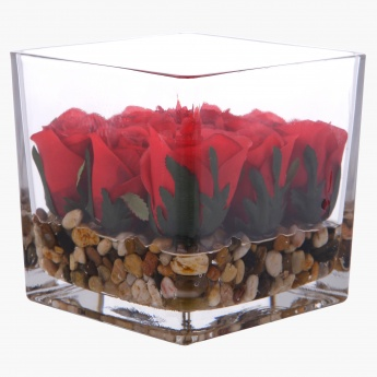 Rose in Square Glass with Pebbles