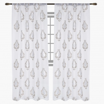 Scroll Embroidered Sheer Curtain Pair - 135x240 cms