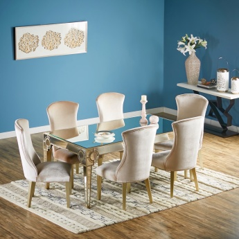 Mystique 6 Seater Dining Table Set Silver Mirror