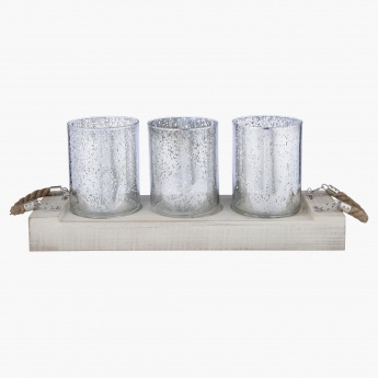 Deciduous Decorative 4-Piece Pillar Candle Holder Set