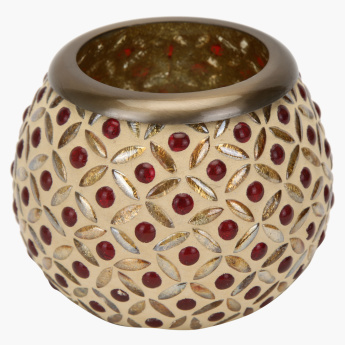 Mosaic Studded Round Votive Tealight Holder