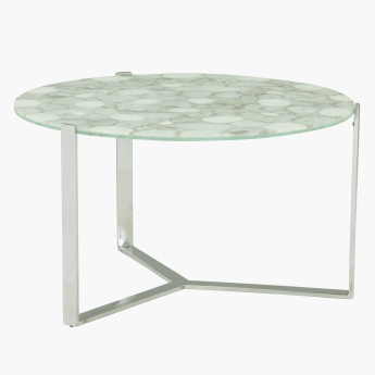 Agate Round Coffee Table with Sleek Frame
