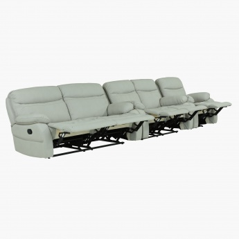 Freeman 6 Seater Recliner Sofa Set With Armrest Cream Wood