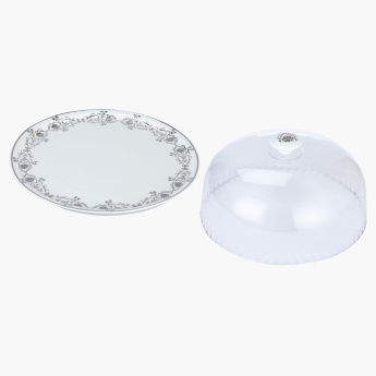 Rose Sparkle Round Cake Stand with Dome Lid