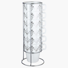 Sparkle Rose Printed 6-Piece Cup with Metal Stand Set