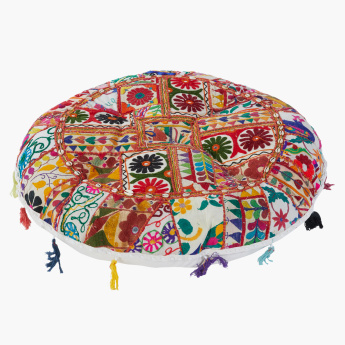 Brook Embroidered Filled Floor Cushion with Tassels - 80 cms