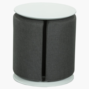 Textured Banner Stool with Pouf
