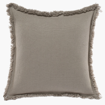 Classa Textured Fringed Cushion Cover - 65x65 cms
