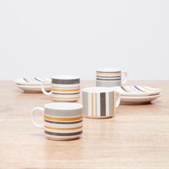 Setar 9-Piece Striped Espresso Cup with Stand - 120 ml