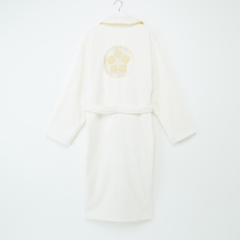 Skamri Embroidered Bathrobe with Long Sleeves and Tie Up Belt - M