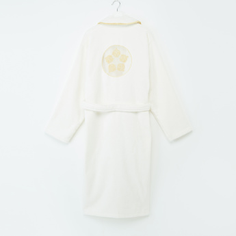 Embroidered Bathrobe with Long Sleeves and Tie Up Belt - XL