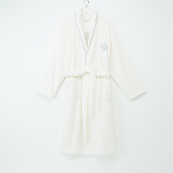 Skamri Embroidered Bathrobe with Long Sleeves and Tie Up Belt - S