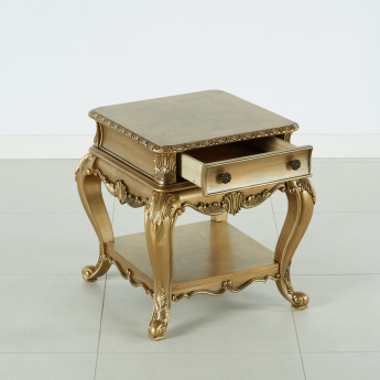 Ariman Handcrafted End Table with 1-Drawer