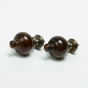 Wood Trophy Curtain Rod Finial - Set of 2