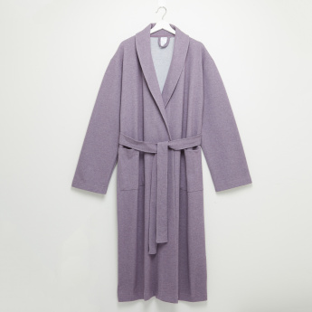 Jersey Textured Long Sleeves Robe with Tie-Ups