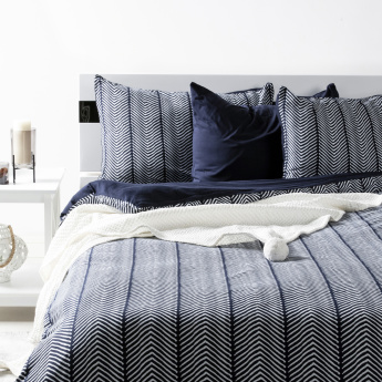 Waves Printed 3-Piece Super King Duvet Cover Set - 260x220 cms